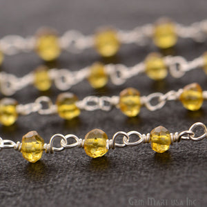 Citrine 3-3.5mm Silver Plated Wire Wrapped Beads Rosary Chain