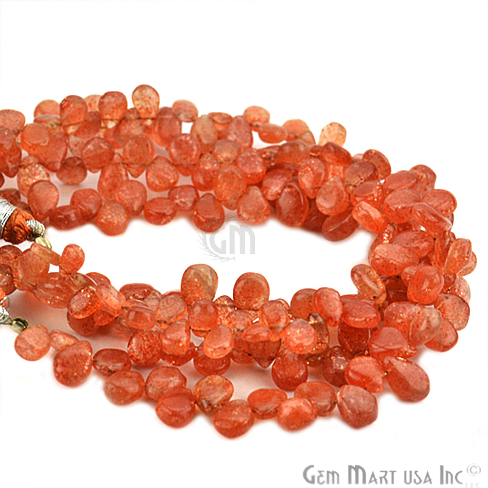 Carnelian Drop Faceted Gemstone Bead 8x6mm Rondelle Bead Strand