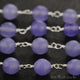 Light Lavender Jade Beads Silver Plated Wire Wrapped Rosary Chain