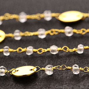 Crystal Beads With Round Finding Wire Wrapped Fancy Rosary Chain - GemMartUSA