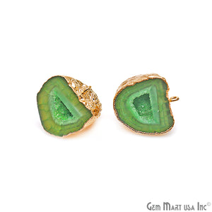 DIY Agate Slice Geode Druzy 25x22mm Gold Electroplated Loop Connector Studs Earrings - GemMartUSA