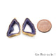 Agate Slice 17x30mm Organic Gold Electroplated Gemstone Earring Connector 1 Pair - GemMartUSA