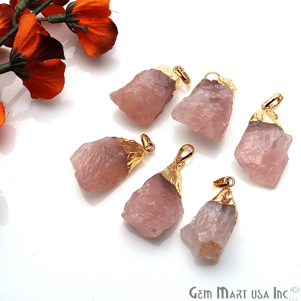 DIY Rough Rose Quartz Gemstone 40x22mm Gold Edge Necklace Pendant