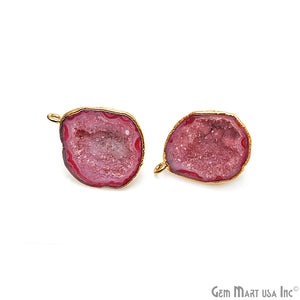 DIY Agate Slice Geode Druzy 21x26mm Gold Electroplated Loop Connector Studs Earrings - GemMartUSA