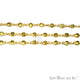 Lemon Topaz 4mm Round Gold Bezel Continuous Connector Chain - GemMartUSA