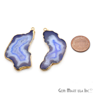 Agate Slice 48x23mm Organic Gold Electroplated Gemstone Earring Connector 1 Pair - GemMartUSA