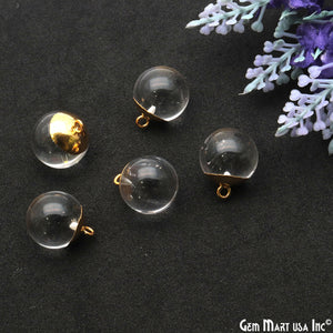 Crystal 18x14mm Gold Plated Ball Pendant Connector