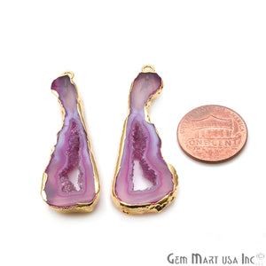 Agate Slice 50x18mm Organic  Gold Electroplated Gemstone Earring Connector 1 Pair - GemMartUSA
