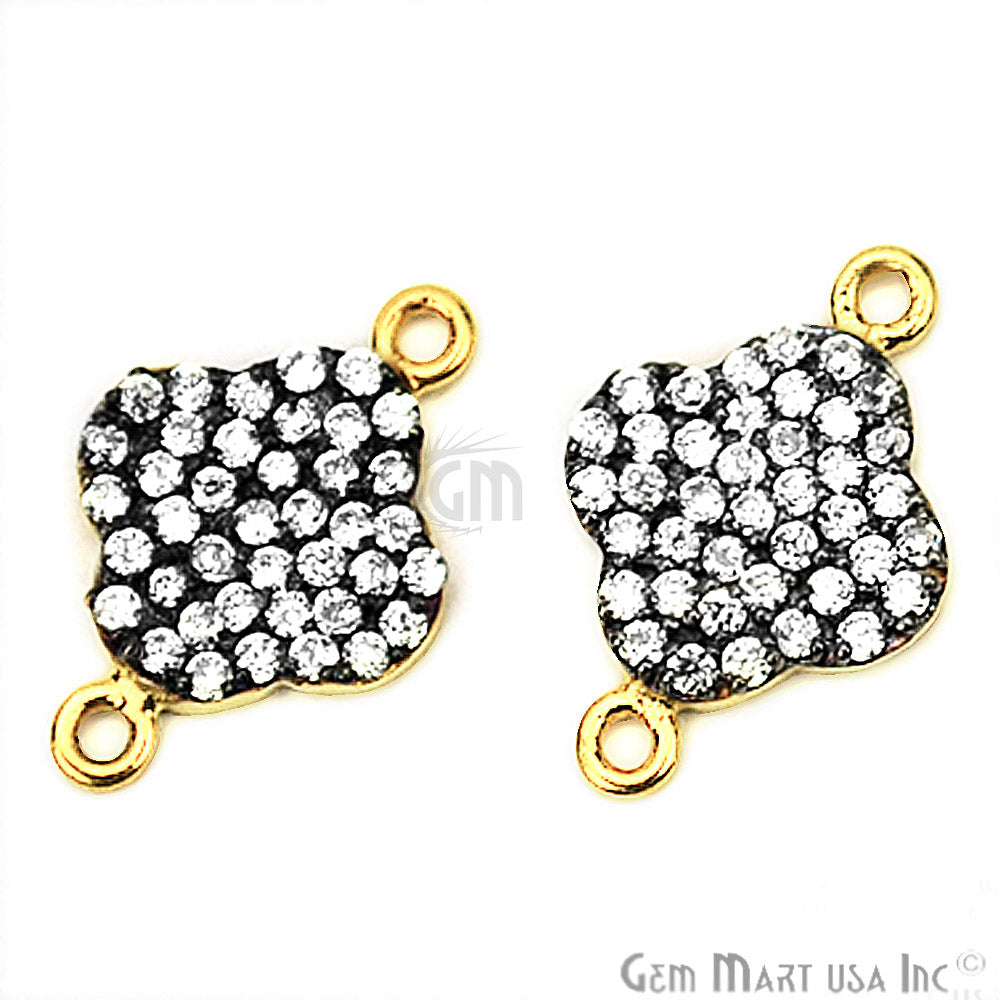 Cubic Zircon Pave 'Clover' Shape Gold Vermeil Charm for Bracelet Pendants & Necklace