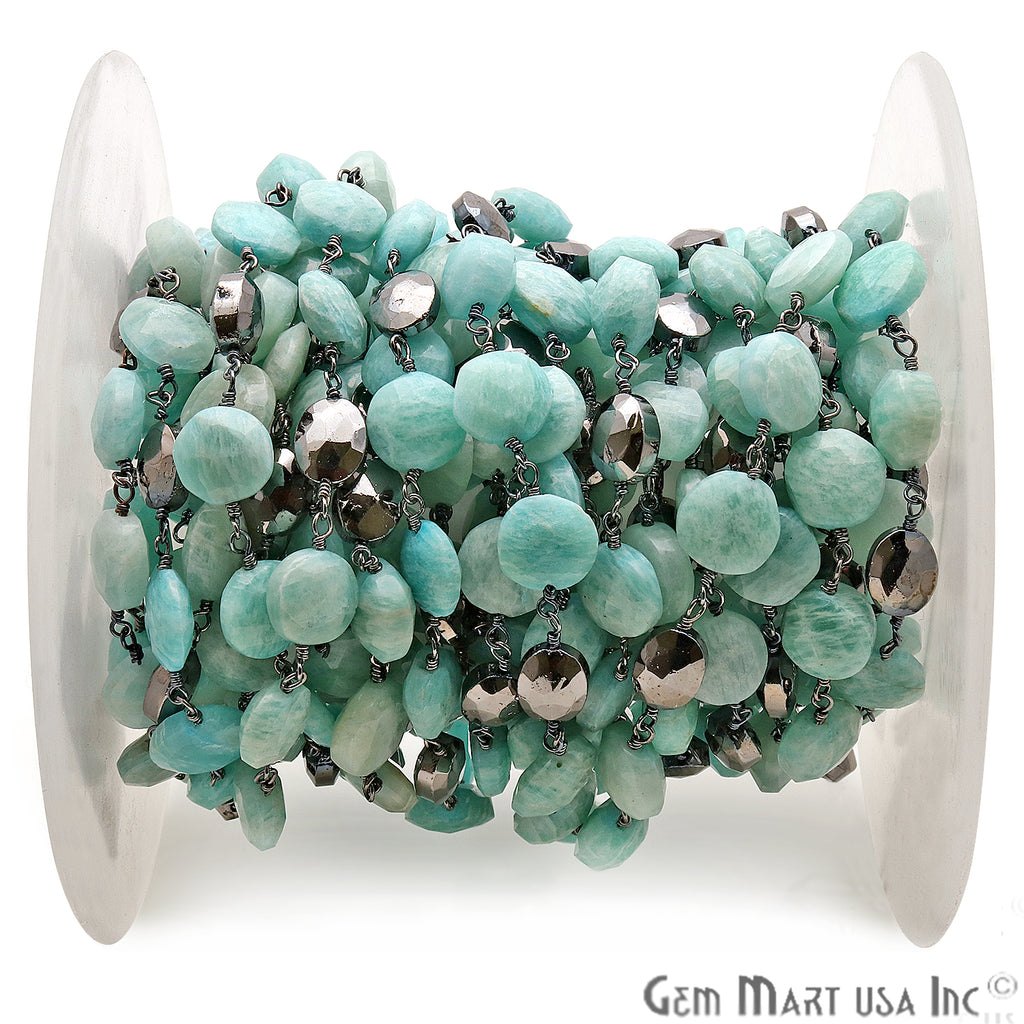 Amazonite & Black Pyrite Oxidized Rough Beads Rosary Chain