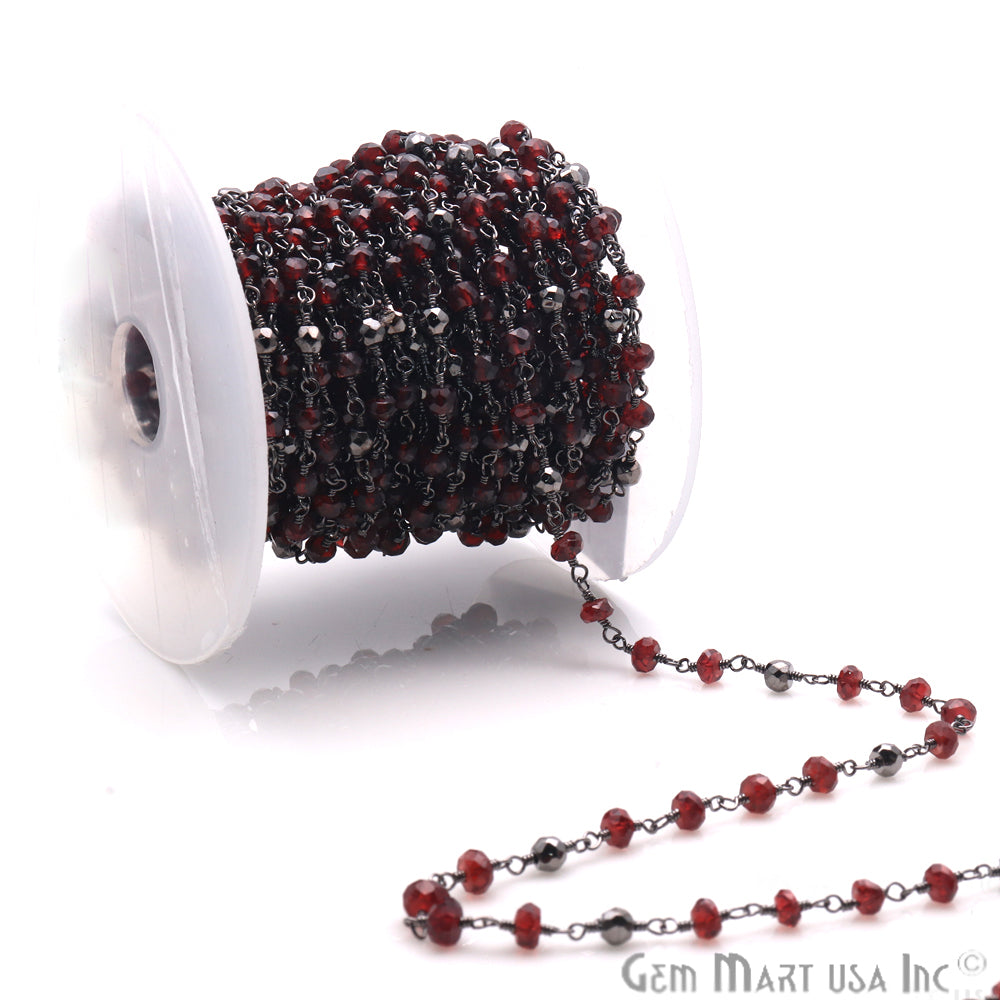 Garnet & Black Pyrite Multi Gemstone Beaded Wire Wrapped Anglican Rosary Chain