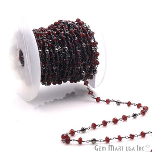 Garnet & Black Pyrite Multi Gemstone Beaded Wire Wrapped Rosary Chain