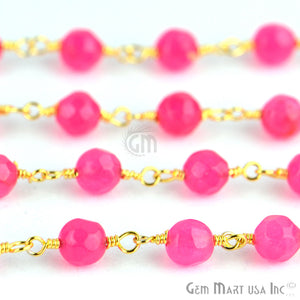 Hot Pink Jade 4mm Beads Gold Plated Wire Wrapped Rosary Chain