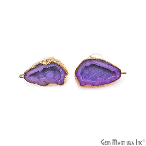 DIY Agate Slice Geode Druzy 32x18mm Gold Electroplated Loop Connector Studs Earrings - GemMartUSA
