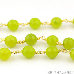 Vessonite Jade 8mm Beads Gold Plated Wire Wrapped Rosary Chain - GemMartUSA