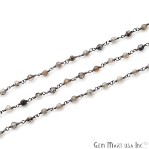Brown Rutile Jade Faceted Beads 4mm Oxidized Plated Wire Wrapped Rosary Chain - GemMartUSA