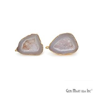DIY Agate Slice Geode Druzy 20x29mm Gold Electroplated Loop Connector Studs Earrings - GemMartUSA