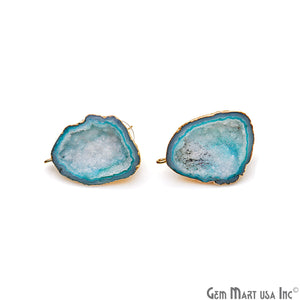 DIY Agate Slice Geode Druzy 25x35mm Gold Electroplated Loop Connector Studs Earrings - GemMartUSA