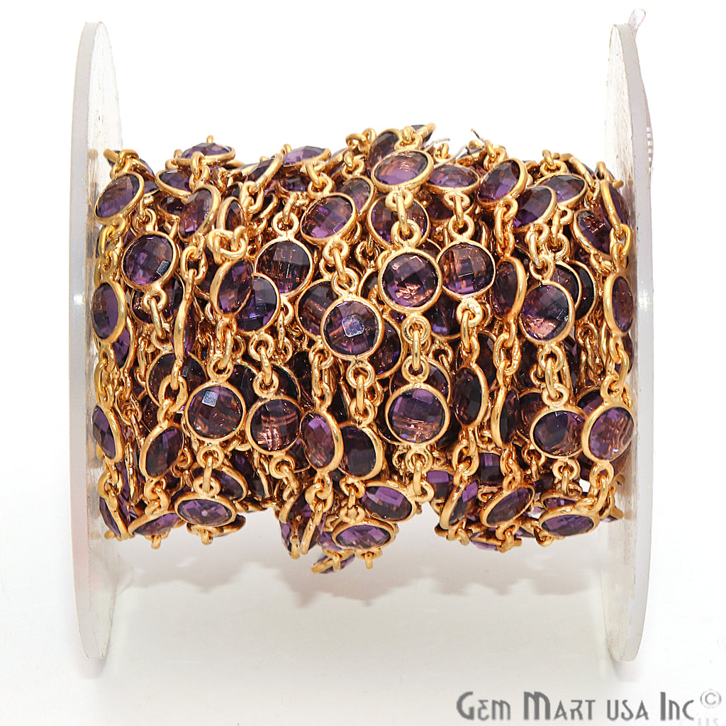 Amethyst 5mm Bezel Link Gold Plated Continuous Connector Chain