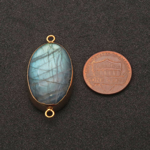 Labradorite Cabochon 36x20mm Oval Gold Electrolated Double Bail Gemstone Connector - GemMartUSA