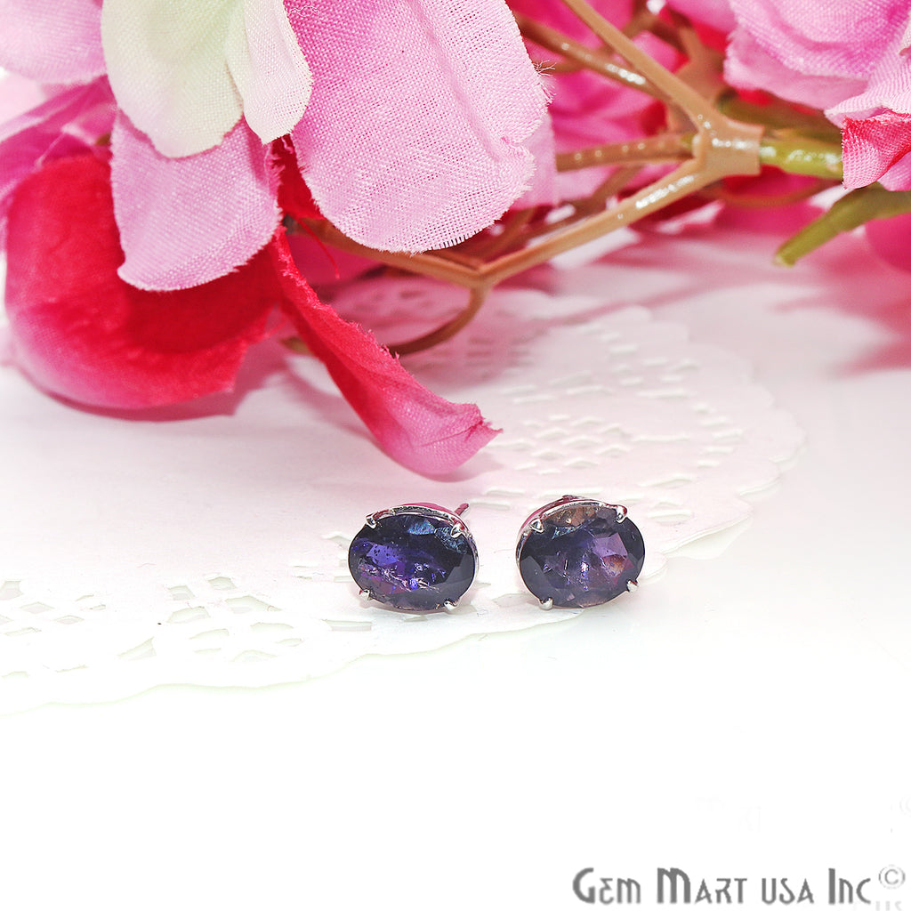 Blue Sapphire 6x8mm Sterling Silver Oval Shape Prong Setting Stud Earring