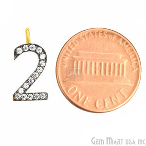 '2' Numbering CZ Pave Gold Vermeil Charm for Bracelet & Pendants