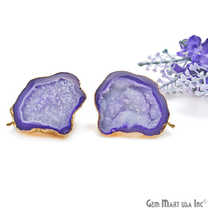 DIY Agate Slice Geode Druzy 32x42mm Gold Electroplated Loop Connector Studs Earrings - GemMartUSA
