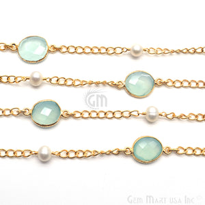 Aqua Chalcedony With Pearl 10mm Gold Plated Bezel Connector Chain - GemMartUSA
