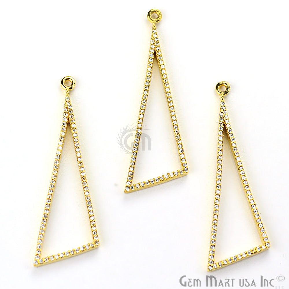 Cubic Zircon Pave 'Scalene Triangle' Shape Gold Vermeil Charm for Bracelet Pendants & Necklace