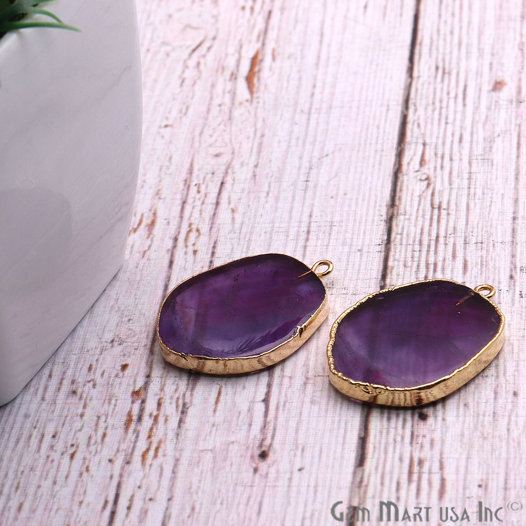 DIY Amethyst 28x20mm Gold Electroplated Finding Earing Connector