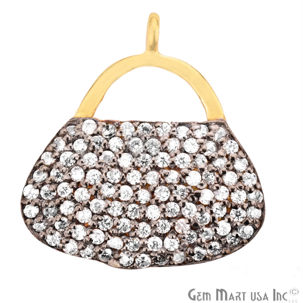 Cubic Zircon Pave 'Purse' Gold Vermeil Charm for Bracelet Pendants & Necklace