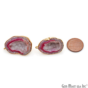 DIY Agate Slice Geode Druzy 22x32mm Gold Electroplated Loop Connector Studs Earrings - GemMartUSA