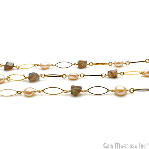 Labradorite & Pearl With Gold Marquise Finding Rosary Chain