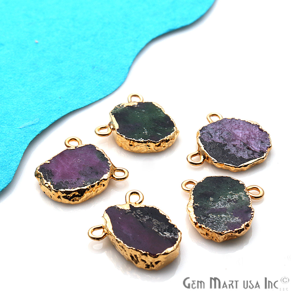 Rough Ruby Zoisite Gemstone 17x15mm Gold Edge Cat Bail Connector Charm