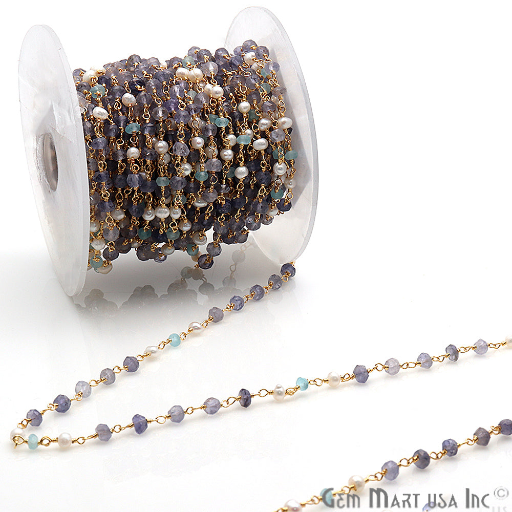 Aquamarine, Tanzanite & Pearl Multi Gemstone Beaded Wire Wrapped Anglican Rosary Chain