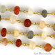 Multi Moonstone Beads Chain, Gold Plated Wire Wrapped Rosary Chain - GemMartUSA