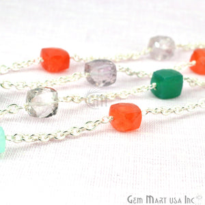 Multi Color Beads Chain, Silver Plated Wire Wrapped Rosary Chain