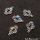 DIY, Labradorite Silver Plated 20x15mm Square Chandelier Finding Component - GemMartUSA