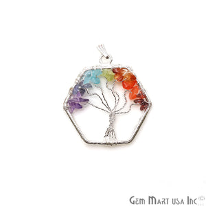 Multi Color Tree Of Life 42x37mm Silver Wire Wrapped Hexagon Shape Pendant - GemMartUSA