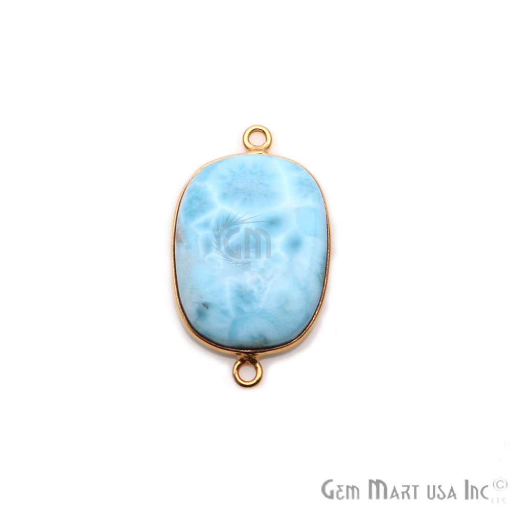 Larimar Cabochon Gemstone 28x17mm Gold Plated Connector