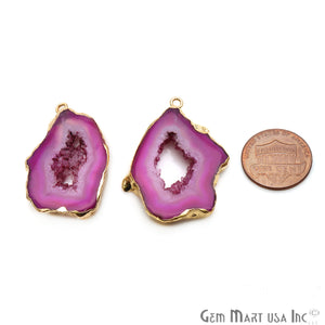 Agate Slice 22x35mm Organic  Gold Electroplated Gemstone Earring Connector 1 Pair - GemMartUSA