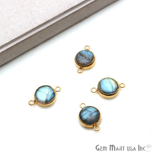 Labradorite Cabochon 20x13mm Round Gold Electrolated Double Bail Gemstone Connector
