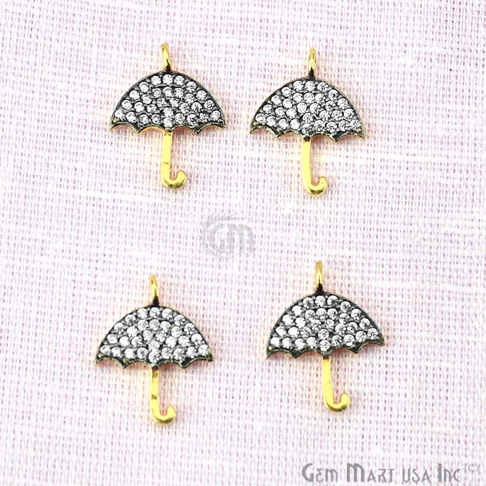 Cubic Zircon Pave 'Umbrella' Shape Gold Vermeil Charm for Bracelet Pendants & Necklace