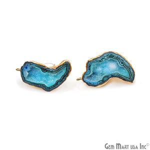 DIY Agate Slice Geode Druzy 33x17mm Gold Electroplated Loop Connector Studs Earrings - GemMartUSA