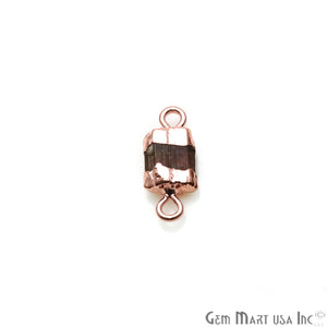 Rough Multi Tourmaline 14x7mm Organic Rose Gold Edged Gemstone Connector - GemMartUSA
