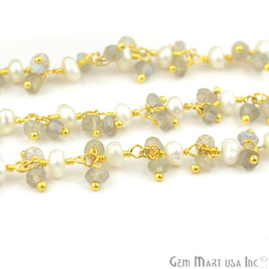 Labradorite With Pearl Faceted Beads Gold Plated Cluster Dangle Rosary Chain - GemMartUSA