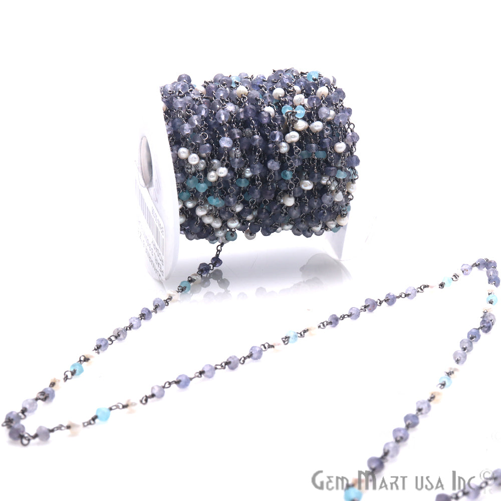 Aquamarine, Tanzanite and Pearl 3-3.5mm Beaded Black Plated Wire Wrapped Anglican Rosary Chain