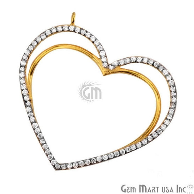 Cubic Zircon Pave 'Heart' Gold Vermeil Charm for Bracelet Pendants & Necklace