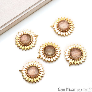 Gemstone 27x25mm Sun Flower Gold Plated Single Bail Pendant Connector (Pick Stone)