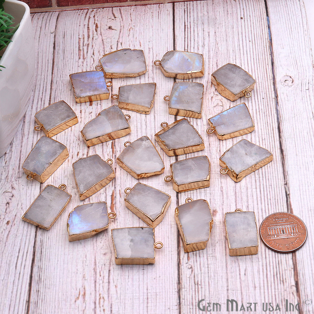 DIY Rough Rainbow Moonstone 20x14mm Gold Edge Gemstone Connector